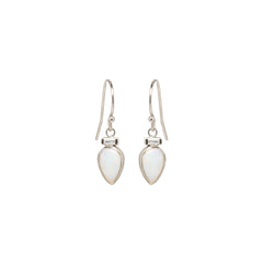 14k single baguette and opal teardrop earrings