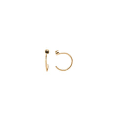 Zoë Chicco 14kt Yellow Gold Black Diamond Tiny Open Hoop Earrings