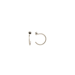 Zoë Chicco 14kt White Gold Black Diamond Tiny Open Hoop Earrings