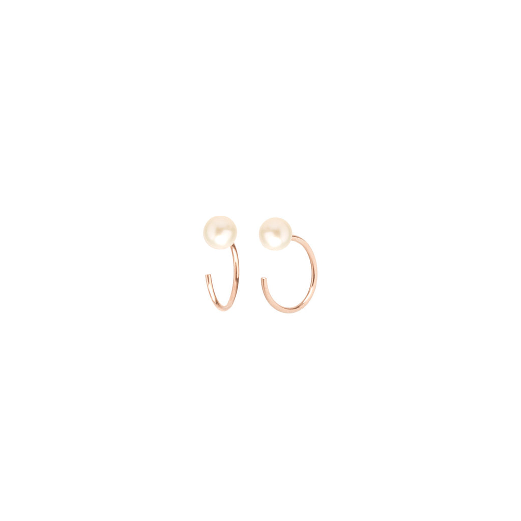 14k pearl tiny open hoop earrings
