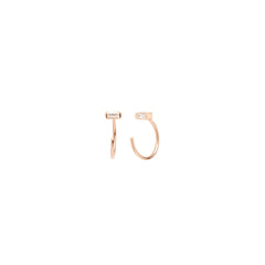 Zoë Chicco 14kt Rose Gold White Baguette Diamond Tiny Open Hoop Earrings