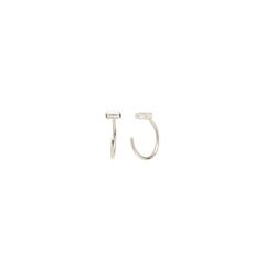 Zoë Chicco 14kt White Gold White Baguette Diamond Tiny Open Hoop Earrings