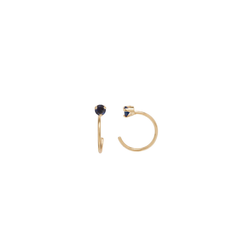 Zoë Chicco 14kt Gold Blue Sapphire Prong Set Open Hoop Earrings