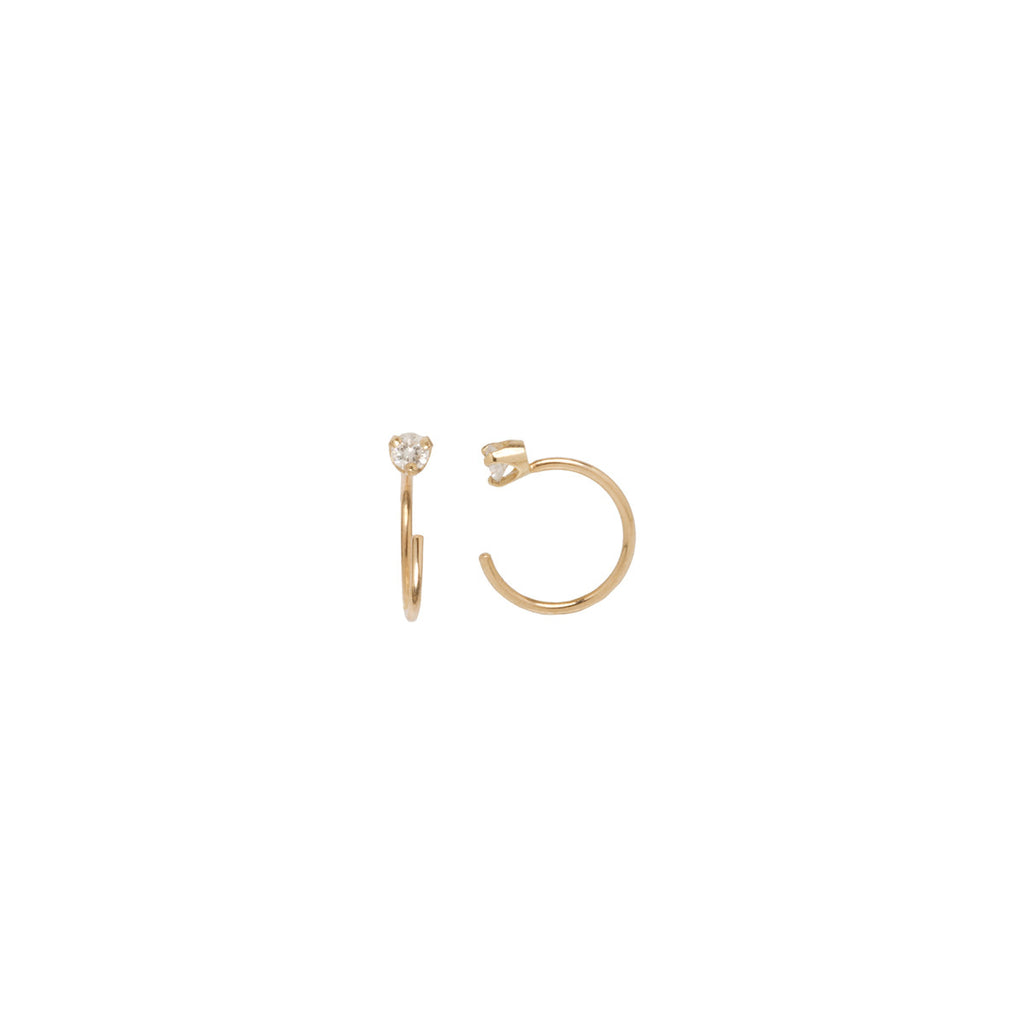 14k diamond prong open hoop earrings