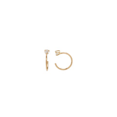 Zoë Chicco 14kt Yellow Gold White Diamond Prong Open Hoop Earrings