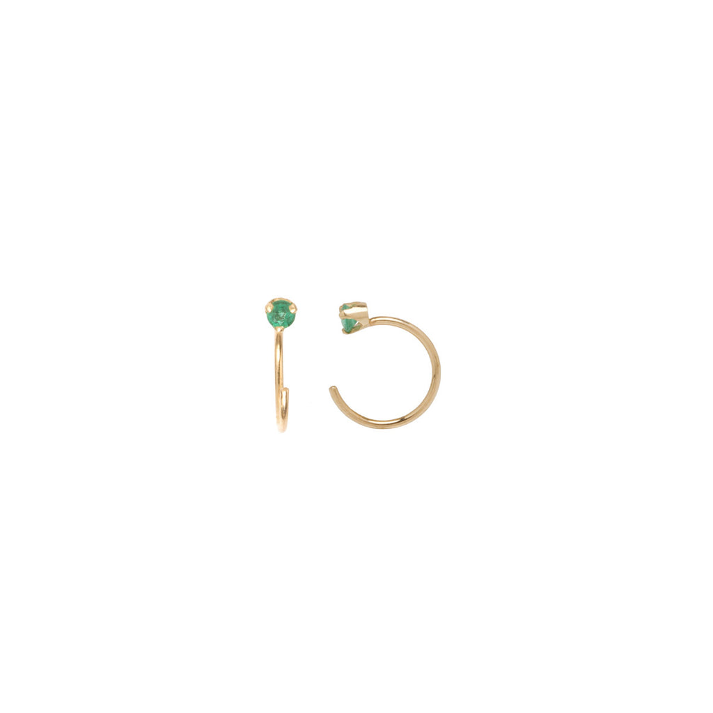 Zoë Chicco 14kt Yellow Gold Prong Set Emerald Open Hoop Earrings