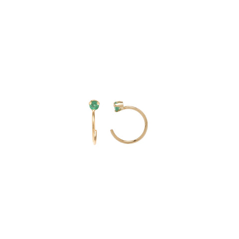 14k emerald prong open hoop earrings