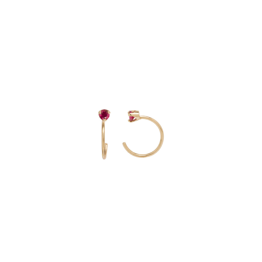14k ruby prong open hoop earrings