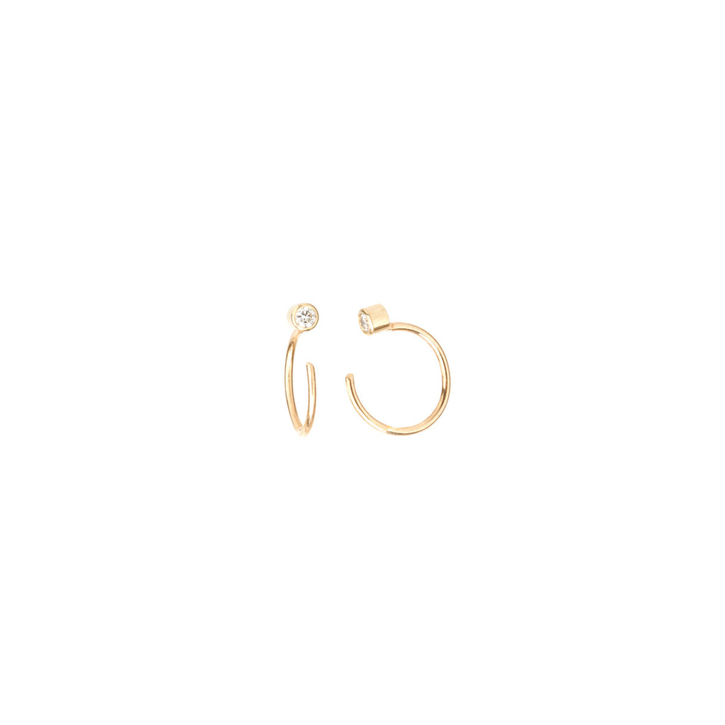 Zoë Chicco 14kt Yellow Gold White Diamond Tiny Open Hoop Earrings