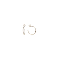 14k diamond tiny open hoop earrings