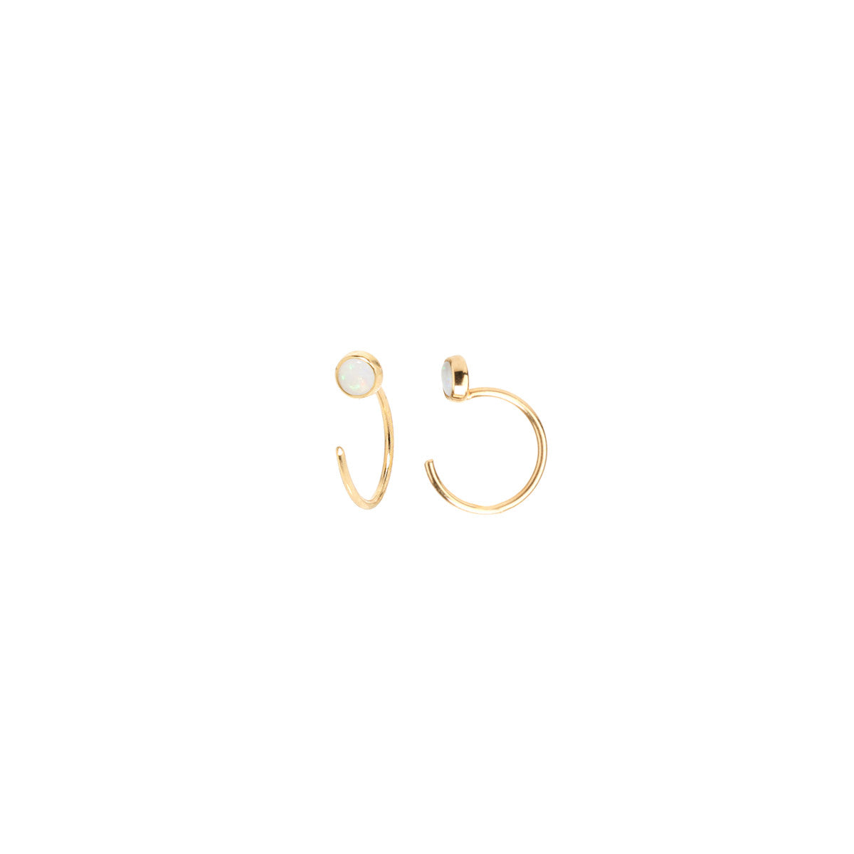 14k opal tiny open hoop earrings