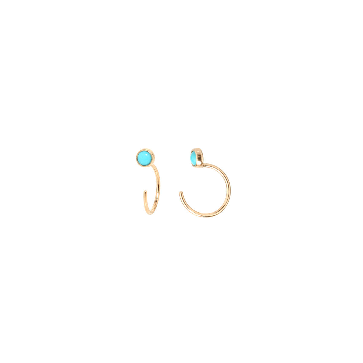 14k turquoise tiny open hoop earrings