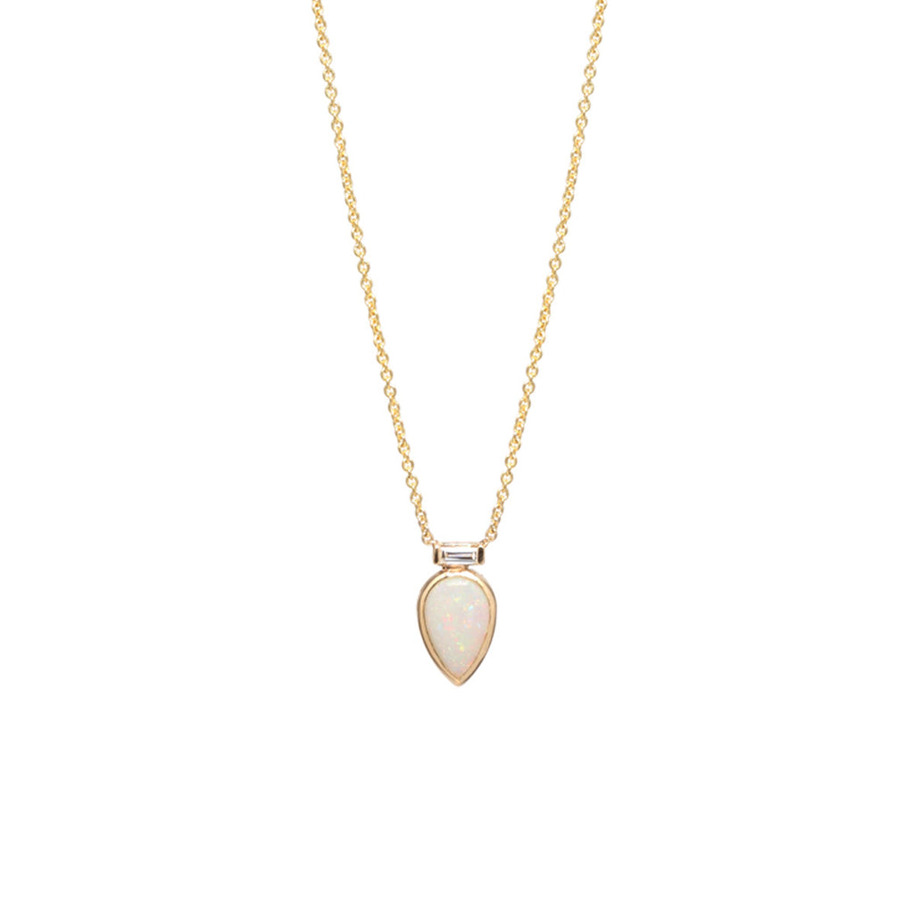 14k single opal tear & baguette diamond necklace