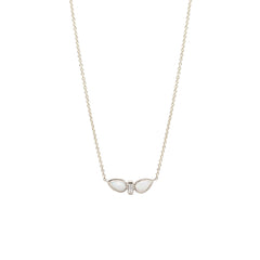14K two opal tear & baguette diamond necklace