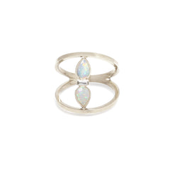 14k opal and diamond open bar ring