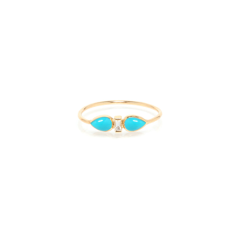 14k teardrop turquoise & diamond baguette ring