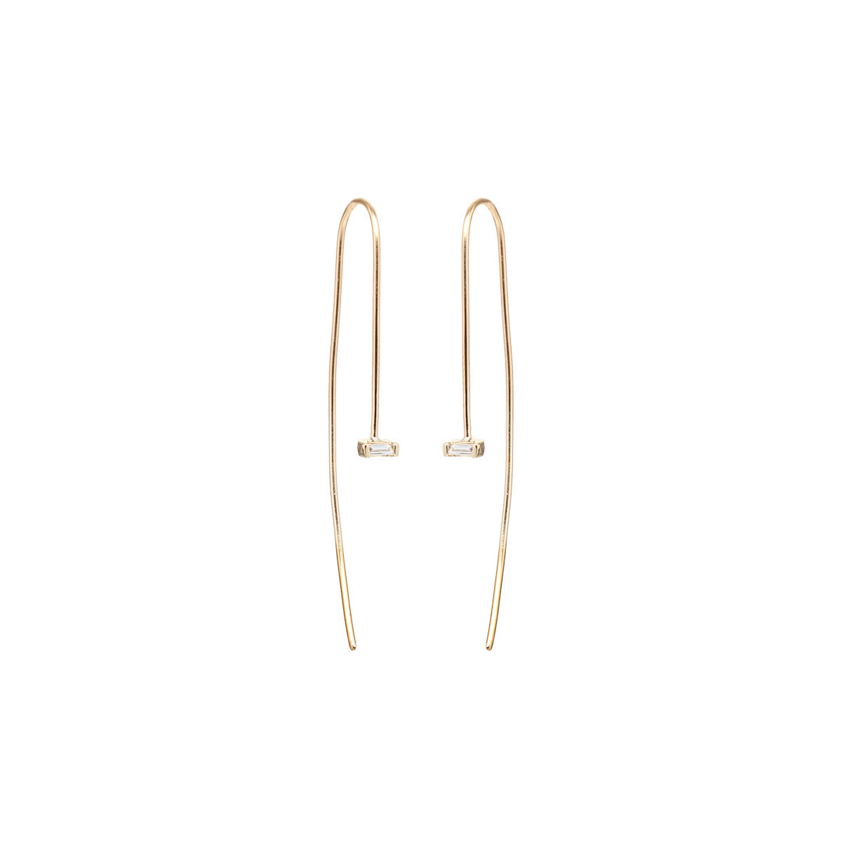 14k baguette diamond wire earrings