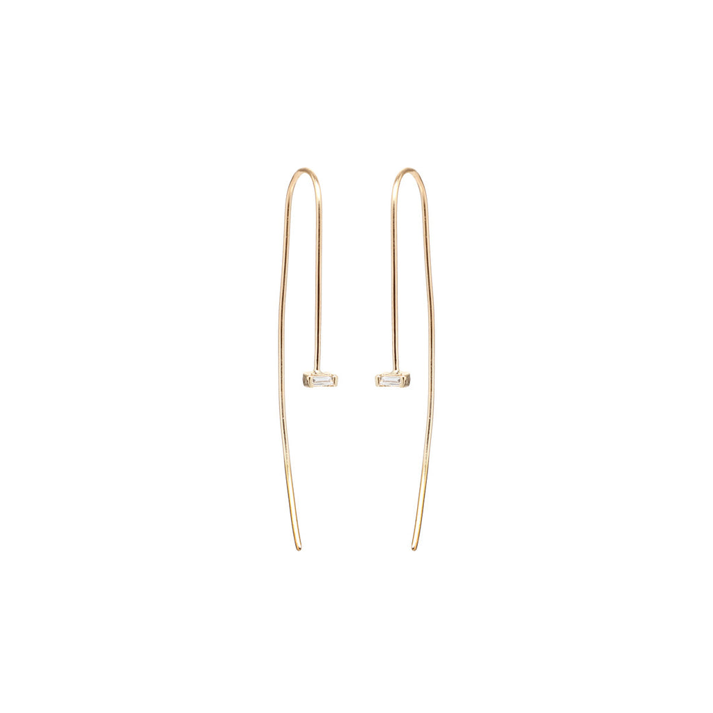 Zoë Chicco 14kt Yellow Gold White Baguette Diamond Wire Earrings