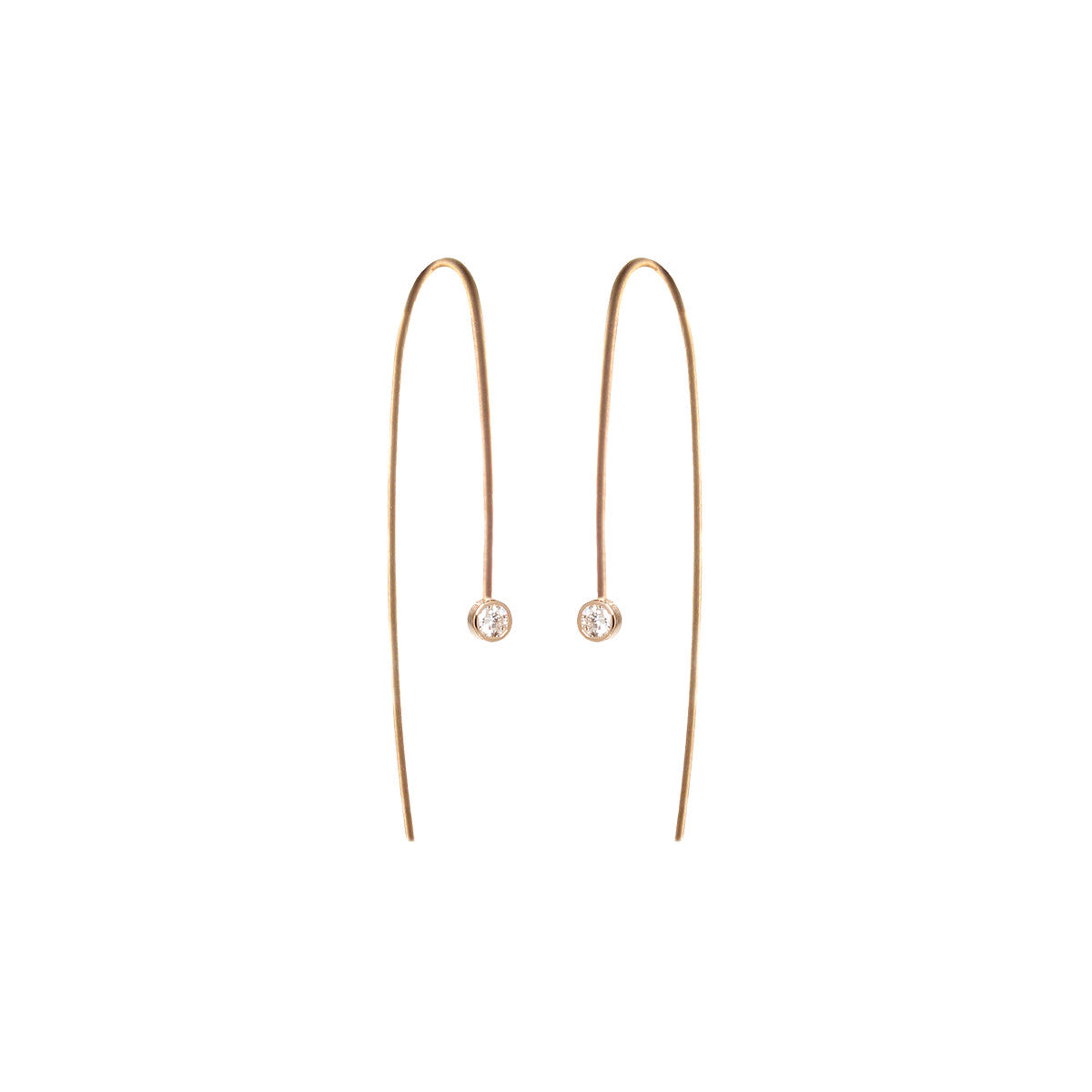 14k white diamond wire earrings