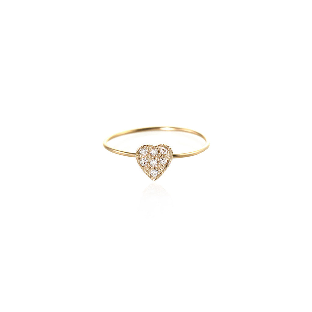 14k tiny pave heart ring