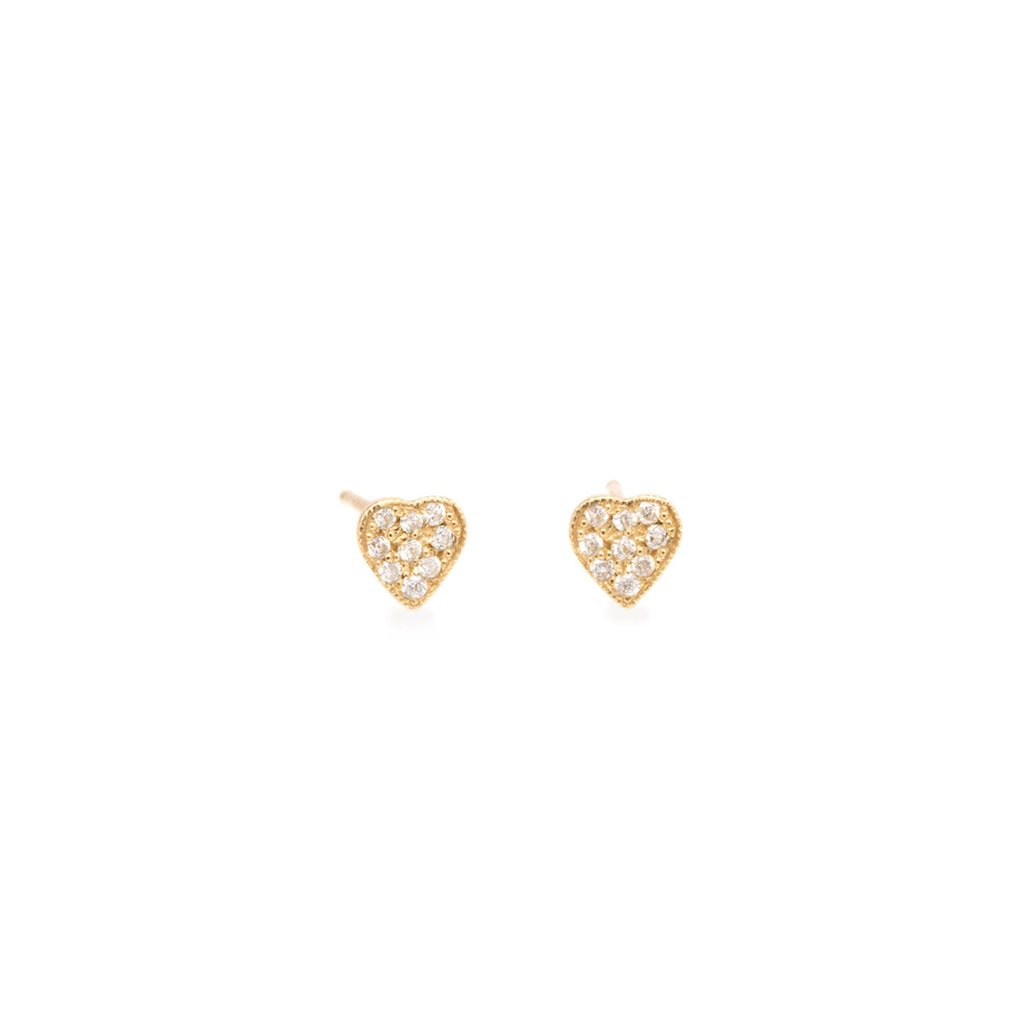 14k tiny pave heart studs