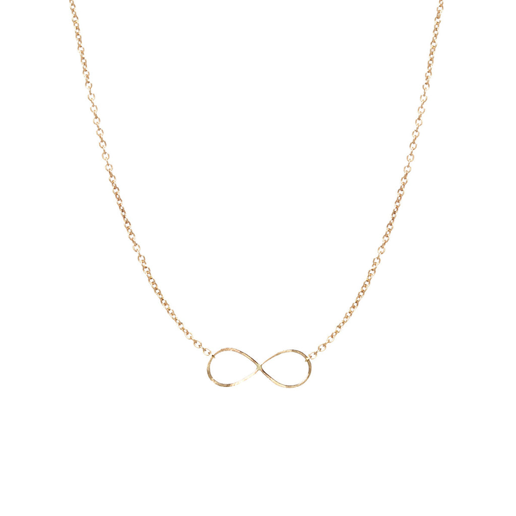 14k tiny hammered infinity necklace