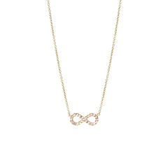 14k tiny pave infinity necklace