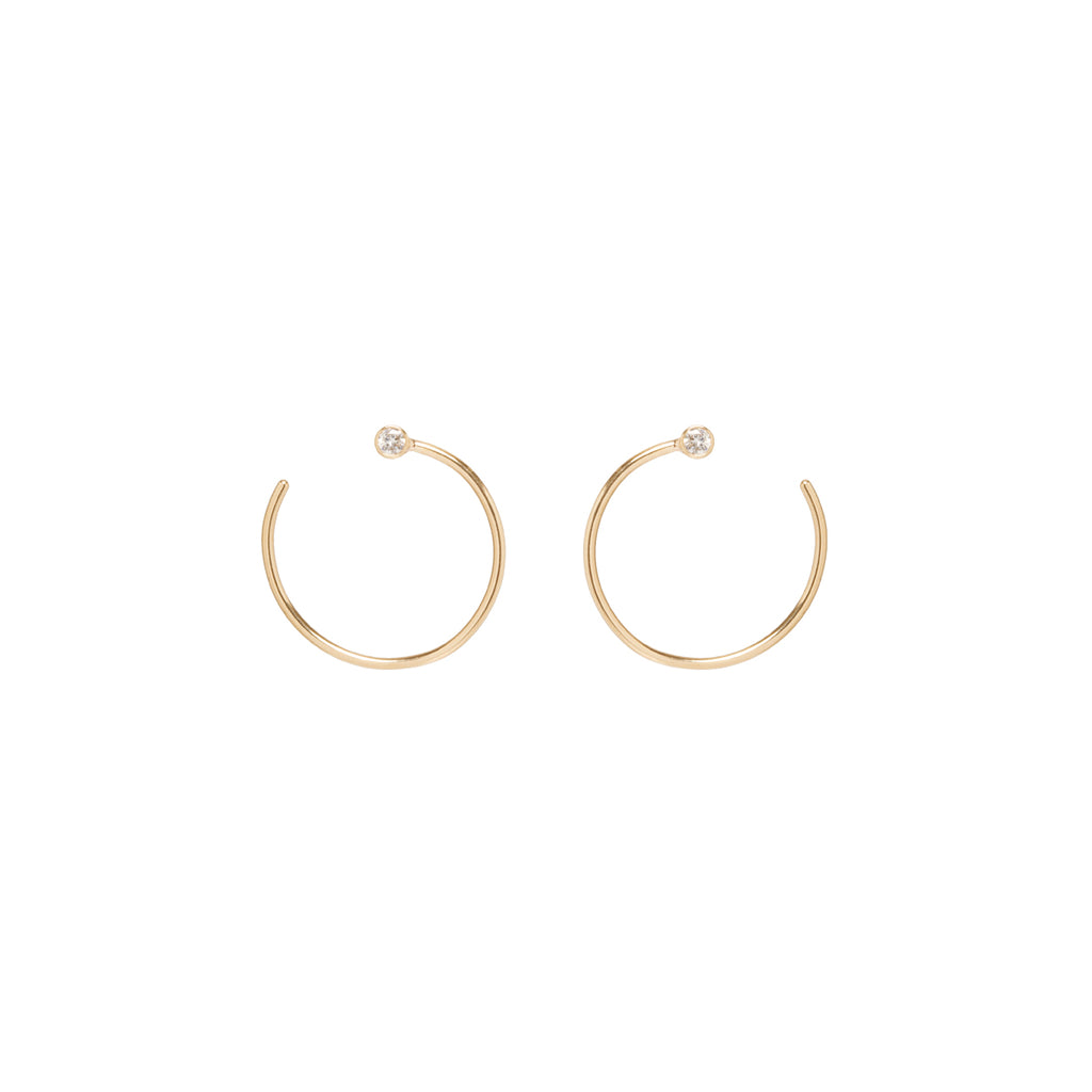 Zoë Chicco 14kt Yellow Gold White Diamond Medium Front to Back Hoop Earrings