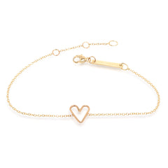 14k tiny open heart bracelet