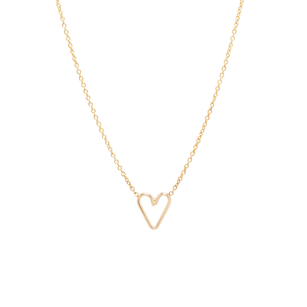 14k tiny open heart necklace