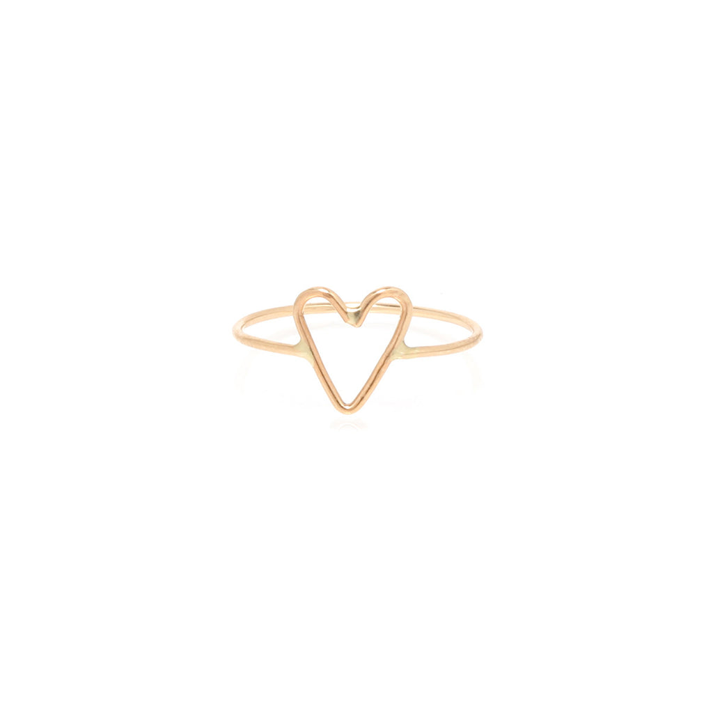 14k tiny open heart ring