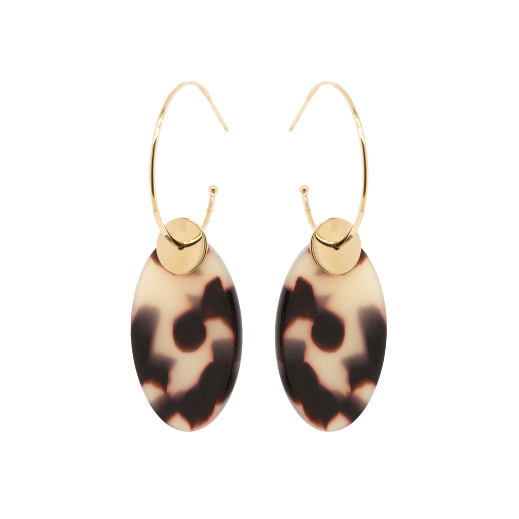14k tortoise oval drop medium hoop earrings