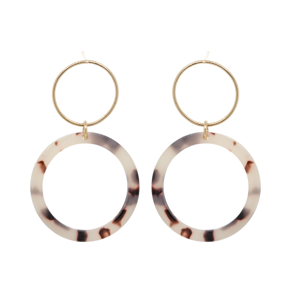 14k tortoise double circle earrings