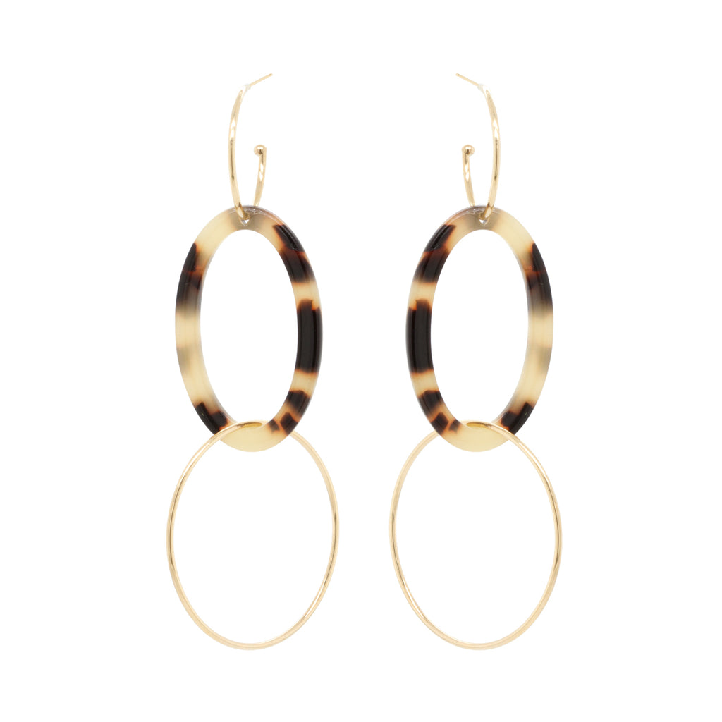 14k tortoise oval hoop earrings