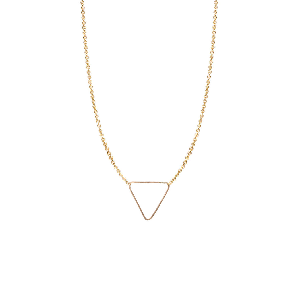14k tiny triangle necklace