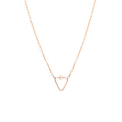 14k tiny diamond and open triangle necklace