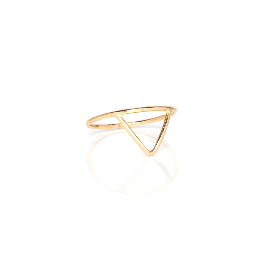 14k tiny triangle outline ring