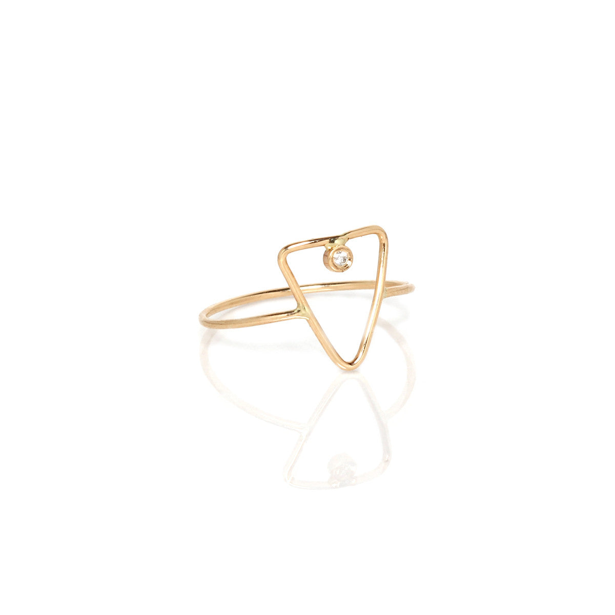 14k thin triangle ring