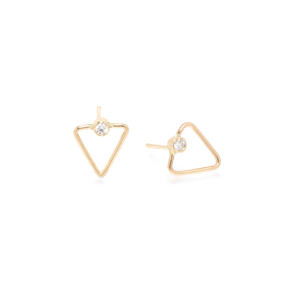 14k tiny open triangle diamond studs