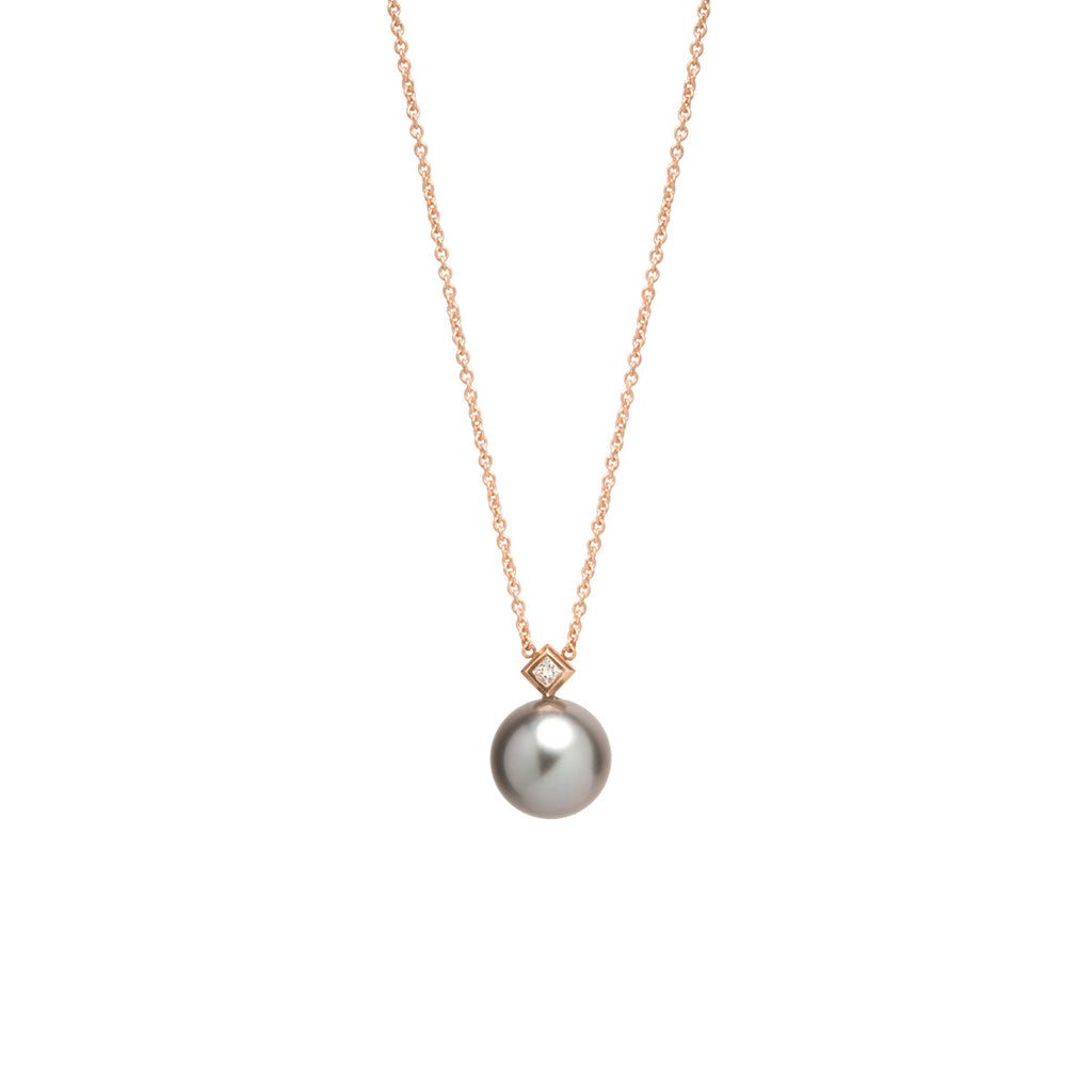 14k tahitian pearl and princess diamond necklace