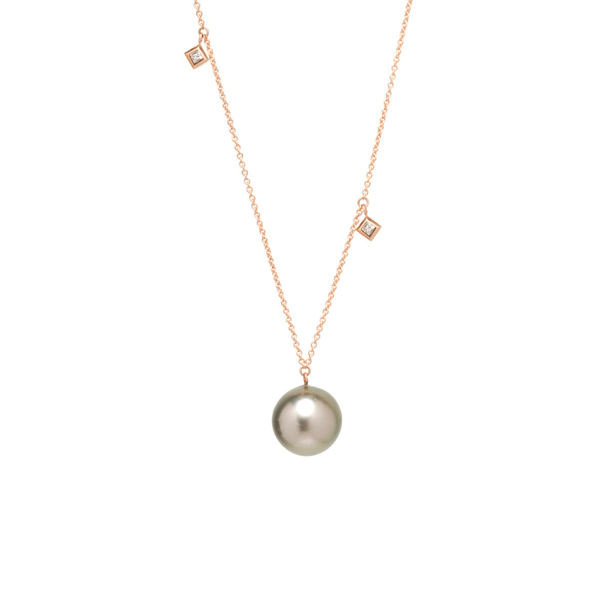 Necklace With A Pearl: 14k Large Tahitian Pearl And Princess Diamond