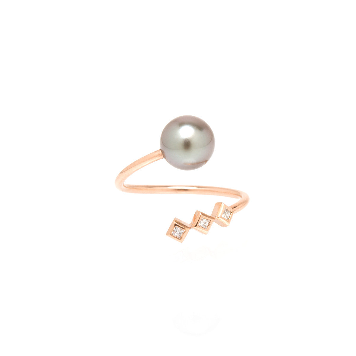 14k tahitian pearl and princess diamond bypass ring