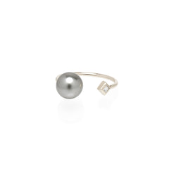 14k open tahitian pearl and princess diamond ring