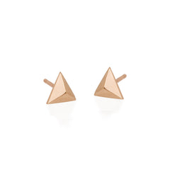 14k triangle pyramid studs