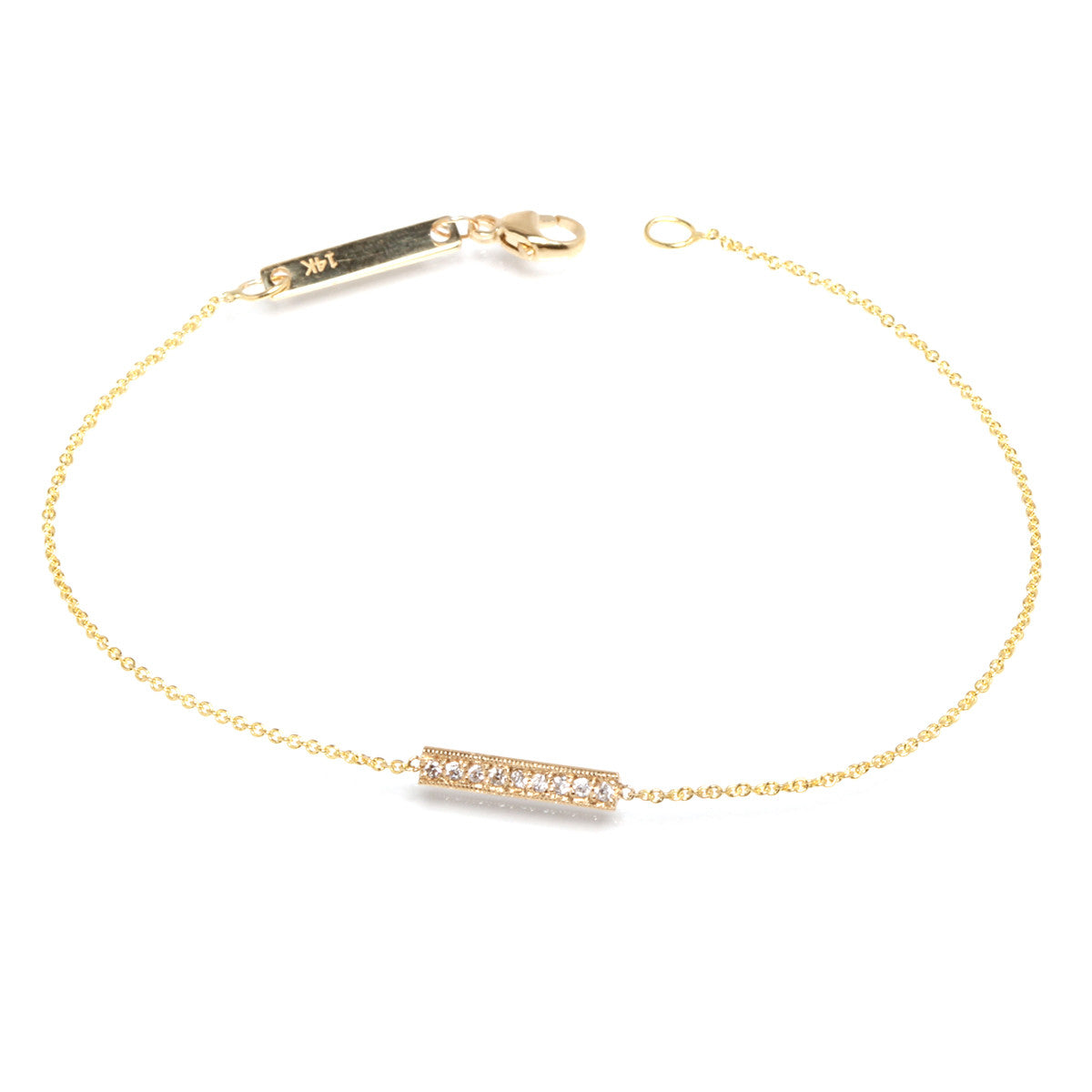 14k black and white triangle bar bracelet