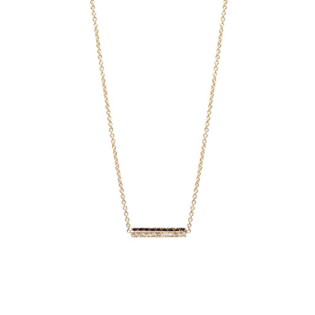 14k pave triangle bar necklace