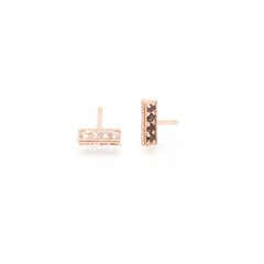 14k mixed pave triangle bar studs