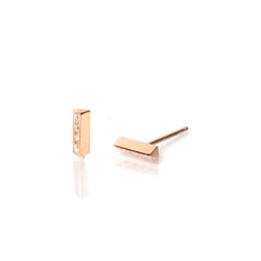 14k pave triangle bar studs