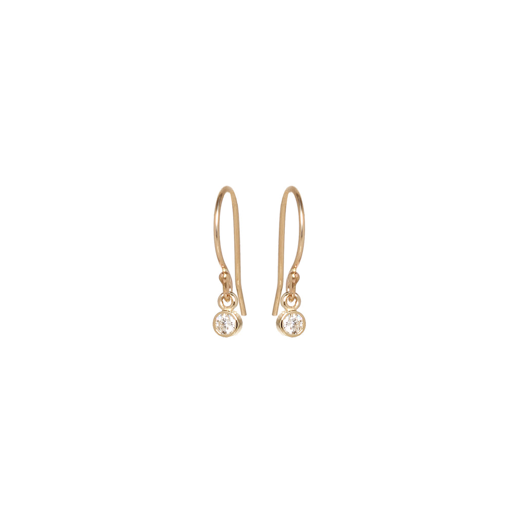 14k tiny round diamond drop earrings