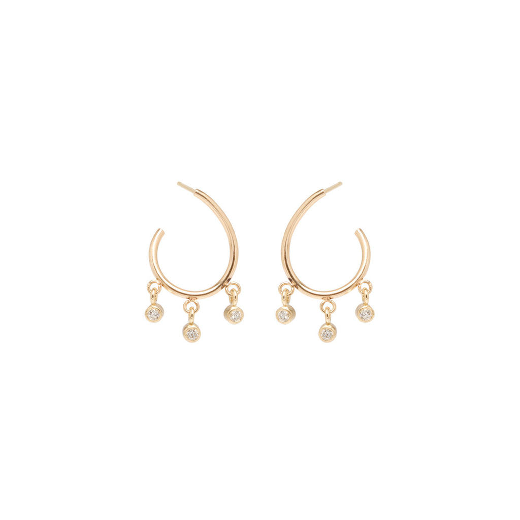 14k dangling diamond front to back small hoops